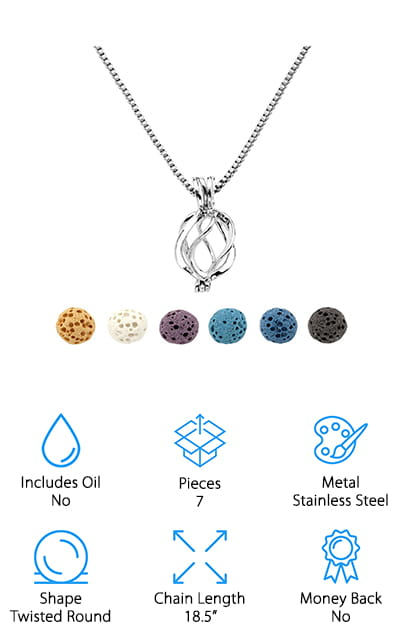 This oil diffuser necklace by Top Plaza is in a twisted round shape and can hold one of the six lava stones that come in the kit. These lava rocks are dyed so that you get a different pendant each day, and you can even wash them out to replace the oil after you've used them. These rocks come in some beautiful colors, including white, yellow, purple, black, and light and dark blue. That way, your beautiful pendant will match what you're wearing no matter what day it is. The lava rocks will hold your favorite essential oils all day, giving you some amazing aromatherapy on the go. It's easy to open this pendant and pop a lava rock in before you leave for the day, and aromatherapy is a great start to your morning. It even comes with a  gift box if you want to give it to a friend who is just getting started!