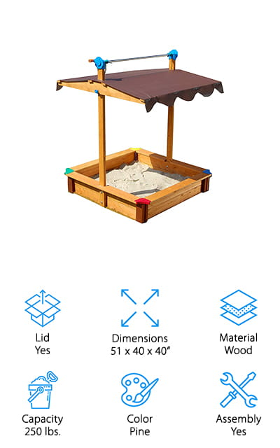This simple sandbox is going to be a favorite with your little one because it provides just enough space for them to play and have fun with their friends. Made in Austria it's designed with high-quality wood to make sure it's durable and it even has a canopy that keeps them protected from the sun and even a light amount of rain. You'll have an open bottom as well as high-quality safety bolts that keep the whole thing together the way you want and keep your little one safe. On top of that, it comes with a 2-year warranty so you know it's built to last. When your little one is done with the sandbox for the day they can leave their toys right inside and lower the canopy to make sure that they're protected and no critters are going to get into the sandbox in the middle of the night.