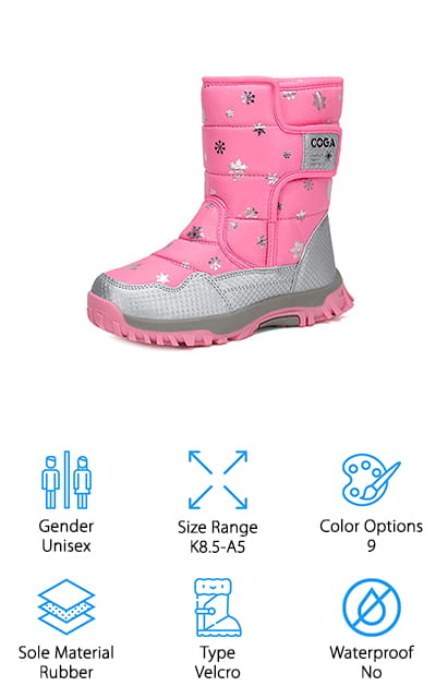 These aren't just cheap snow boots for toddlers, they're actually great options for any child to play out in the snow and the cold with. They have a rubber sole that's great for traction even in rough conditions and they have a textile upper that's easy to clean and water resistant. The plus inside is actually a faux fur to help keep their feet nice and comfortable and the Velcro closure is great for getting these boots on and off quickly, even without additional help. The synthetic toe cap is also designed to keep your little one better protected while they're walking or playing and the different color and size options mean they can find something that they're going to love wearing and that's going to fit them well. All you have to do is find a pair that your little one likes and they'll be ready to show them off to all of their friends.