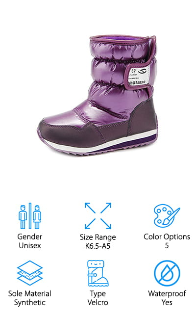 Okay, so you're not getting white snow boots for toddlers but you are getting some fun and vibrant colors that your little one is going to love. These waterproof boots are made with a fabric and synthetic upper that's super comfortable and lined with a faux fur to help make them even warmer. They come in 5 different colors and are entirely unisex so your little one can pick out their favorite pair without worrying how they're going to fit. You get several different size options and you can feel comfortable with the Velcro closure and the synthetic sole. They're super durable as well as great for getting your bearings and your traction while walking in the snow and ice.