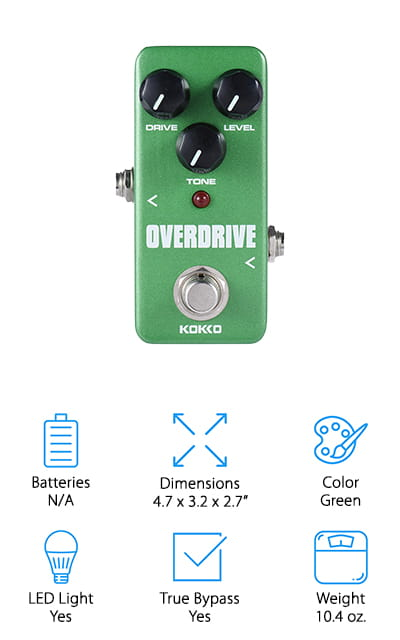 If you're looking for warm and natural sounds then you're going to want to pick up this overdrive. The true bypass gives you completely lossless sound and the LED light lets you know what the settings are. You even get the knobs you need to control drive, level, and tone so you can customize everything that you're doing. There are anti-skid pads on the back of the pedal itself so you don't have to worry about it moving while you're trying to play and you get to choose between some of your favorite colors to get a great style right off the bat. No matter what type of sound you're looking for you can set this thing up to do it and you can simply plug it into a wall to get started playing. You're going to have no problem with this tool and you're definitely going to enjoy playing when you have it hooked up.