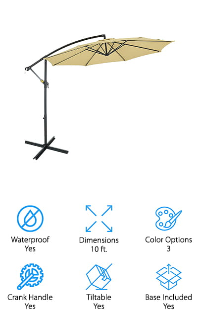 This might be the best quality cantilever umbrella you're going to find and it gives you a whole lot of great features. You get to choose between several different colors that match your personal style as well as the look that you want for your outdoor living space. You also get a tiltable umbrella that's 10 feet around, so you're going to have no problem covering just about any amount of space and protecting it from the sun no matter what direction it's coming from. There's also a crank handle that makes it easy to raise and lower the umbrella when you're using it and when you're not. All you need to do is figure out when you're going to head outside. With the polyester material of this umbrella, you're going to be protected by up to 90% of UV rays and you're going to have a breathable level of protection as well. The aluminum of the frame is even coated to make sure that it's not going to rust being left outside for extended periods.