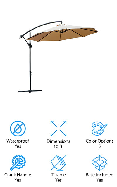 This is a great choice of umbrella for anyone that wants to get outside and enjoy themselves. It has a base included that keeps it sturdy and ready for anything and it's fully tiltable so you can adjust it to match wherever the sun is. The upper portion is 10 feet and round to make sure your patio area is covered with no problem and you have a crank that makes it a whole lot easier to open and close whenever you want. The polyester fabric is fade resistant, anti-ultraviolet and waterproof so you can feel comfortable using it for an extended period and even leaving it outside. Plus, the metal is aluminum and powder coated to make sure it's not going to rust. You get a guarantee that everything is going to be high quality and super durable and you get a wind resistant structure that's designed to give you plenty of air flow. No matter what you're looking for this one is going to provide it for you.