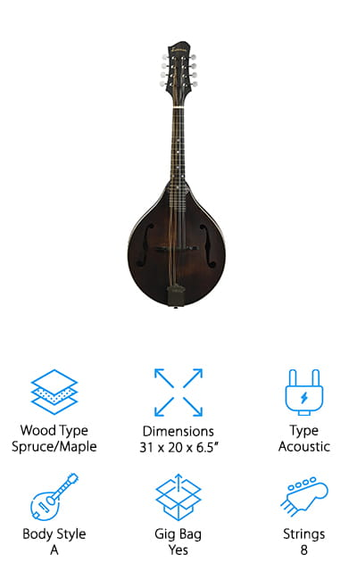 The Eastman MD305 Mandolin is for when you want to get serious with your playing. The A style tear-drop style mandolin is made in much the same way as it was in the early 20th century. Handmade using the finest select tonewoods, this instrument carved from maple on the top, back, and sides with a beautiful ebony bridge and fingerboard. This instrument is a stunning example of Eastern craftsmanship. This acoustic A style mandolin comes with a gig bag and 8 strings. Its triple bound on the top and features a single piece cast tailpiece. The scroll work is masterfully rendered and is a stunning example of the quality that is present across this instrument. For the amazing quality, it's one of the best affordable mandolins on the market right now.  You get a great instrument that you can learn to play on without breaking the bank if you find that you don't like it.