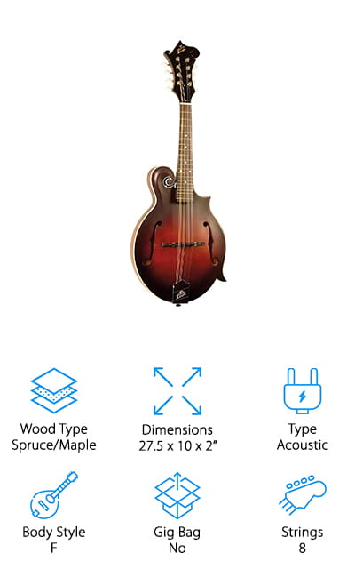 And last but not least is the Loar Honey Creek mandolin. It's the only F-style acoustic mandolin on our list, which means that the body has a much more attractive and classic shape. This is a great-looking mandolin that you're going to love playing. The quality of this instrument really shines. It's somewhat more expensive for the addition of the body type, but the quality is apparent in the maple neck and satin brown burst finish. The back and sides are made of maple for excellent sound quality. It's a great, classical-sounding mandolin that you can immediately recognize from the first strum. The top is hand-carved and absolutely amazing, with graceful curves and a sturdy neck. It comes with D'Addario strings, so you won't have to replace them after ordering. This is hands down the best bluegrass mandolin that we found. You're going to love the gorgeous, full sounds that this mandolin can make regardless of your skill level.