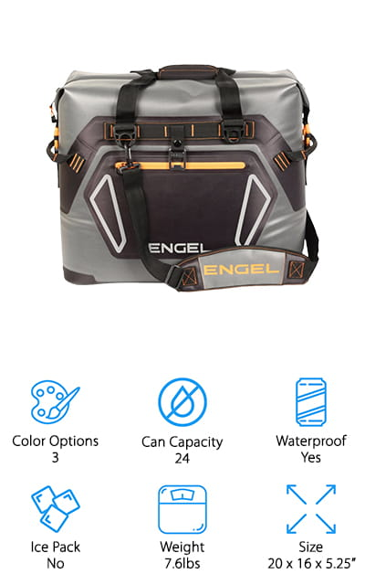 The Engel Soft-Sided cooler has an amazing performance rating. It can hold ice cold for up to 4 days before it fully liquefies, which is great for longer trips when you need to keep more food or drinks chilled. It can hold 24 cans with ice, so you know it will do well with food as well if you need it to. The full-length zipper is completely waterproof for easy access, and the accessory pocket in the front will hold all of your odds and ends. The insulation performance is improved by the vacuum valve technology that helps keep air locked outside of the cooler, rather than seeping in with regular zippers. The outer walls of the cooler are made of a rugged TPU material that will hold up no matter what. It comes with a shoulder strap to make carrying the cooler easier, as well as a bottle opener for parties and tailgating events.