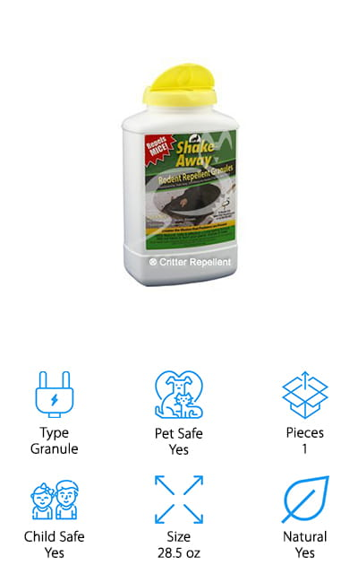 In contrast to the other repellents on our list, these outdoor granules are great for all of your landscaped areas, yards, and gardens. These granules are all-natural and made of proprietary blends of essential, organic oils that work to irritate rodent's senses to keep them away from the areas that you don't want them in. The scent is discharged from the granules is disorienting to rodents, but it isn't overtly harmful. It won't kill them, but it's a natural solution and you won't have to deal with dead bodies. It also works on moles, voles, and squirrels. All you have to do is sprinkle it in the area you're protecting  there is no spray or mess, and it's safe around your kids, pets, land other plants. There are no chemicals or poisons, just a natural alternative to deter pests from taking root in your garden or lawn. Plus, if it's not effective, they will give you a full refund!