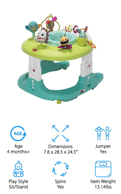 The best exersaucer Jumperoo device that will stay with your baby for the long haul has to be this one from Tiny Love. It's a 4-in-1 walker and activity center. Your baby can use it as a sitting, spinning activity center where they stay in place, and it converts easily to a jumper, walker, and push-along toy depending on your baby's developmental level. This way, this toy will last them a long time and helps to develop language, motor, and sensory skill. There are 20 different activities to promote creativity and fun so that your little one can get the most out of their play time. You can nest it into the outer frame when you aren't using it for easy storage, and it weighs only about 13 pounds so it's portable as well. We love all the different stages that this Activity Center covers, and your baby is going to love all of the bright, colorful toys.