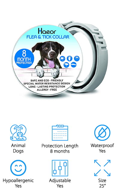 "Next up is one of our picks for the best flea and tick collar for large dogs – but small dogs can enjoy using it as well! This collar from HAEOR is 25"" long, so you can use it with dogs of all sizes – even your large furry friends! It protects your dog from fleas, lice, mosquitos, and ticks for up to 8 months by lightly coating its fur and skin with a blend of essential oils that repels and kills bugs on contact. We like that this hypoallergenic collar is safe for pets, kids, and adults to handle. Oh, and it's waterproof! You can take your dog for a swim, walk them in the rain, and even give them a bath without needing to remove it! We think that this is a great flea and tick collar for all breeds and sizes of dogs, especially if you have a large dog that doesn't always fit properly into other standard collars!"