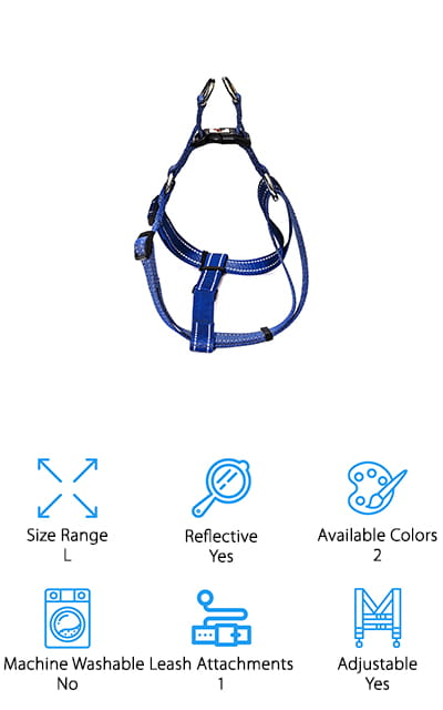Last up in our no pull dog harness reviews is this heavy-duty, yet simple dog harness that's made to leash train your dog and keep it safe. It is a great option for large or heavy dogs that like to tear apart harnesses or leashes! The high tensile nylon straps are tough enough to handle even the most aggressive dogs – and they're rated to withstand up to 350 pounds of force! Your dog won't be able to scratch or stretch this fabric, and it is also UV-resistant, so it won't fade or fray while out in the sun. It's also highly reflective, so your dog is clearly visible while you walk it around the neighborhood at night. You can easily adjust the straps to fit your dog's body snugly to keep them from wriggling out of it. This is a sturdy, reliable harness to train your dog not to pull or run away from you while on your daily walks!