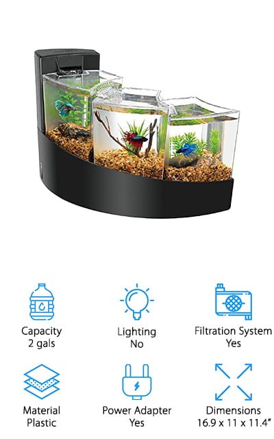 Last up in our reviews is this betta fish tank with divider and filter from Aqueon that's perfect for keeping up to 3 betta fish happy and healthy! We like this tank because it is actually 3 small tanks, connected by a waterfall filtration system. Each tank has plenty of space for a betta to swim around, and they have lids that are easy to remove to feed them daily. We also like the waterfall filtration system, which keeps water flowing from the top tank down continuously. It also provides a relaxing sound of flowing water like a stream, which can be relaxing to listen to while you watch your fish swim around. The base comes in black or white, so you can choose the style that fits your décor best, and the modern look is both sleek and elegant. These tanks are also great for other kinds of small fish and crustaceans to mix things up if you want!