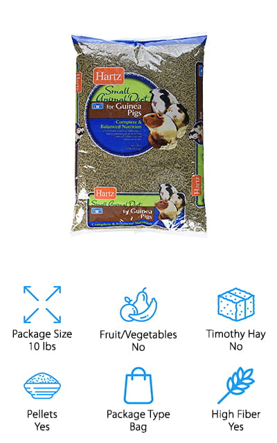 Hartz is one of our picks for the best guinea pig food brand and when you see what this Guinea PIg Food has to offer, you'll understand why. This large 10-pound bag is reasonably priced and has everything your guinea pig needs in a pellet food. It's Timothy hay based and high in fiber plus it has optimal levels of protein and fat for a healthy weight and digestive system. It's fortified with Vitamin C for healthy bones, antioxidants for a healthy immune system, and omega-6 fatty acids for healthy skin and a soft shiny coat. These ingredients are carefully chosen not only for the nutrition they provide but also so they taste good. The idea is to maximize consumption and minimize waste so they receive as many nutritional benefits as possible.