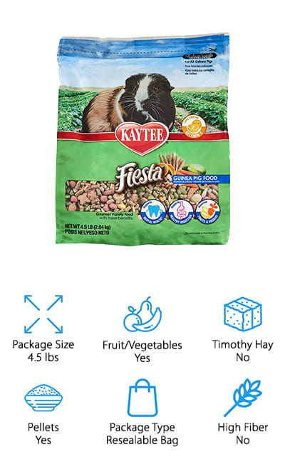 Last up is this guinea pig favorite food, Kaytee Fiesta Guinea Pig Food. We love the different shapes, sizes, and textures because they not only support dental health and natural chewing, but they also keep your pet mentally stimulated and encouraging foraging which guinea pigs naturally do in the wild. This formula includes fruits and vegetables your pet will love including green split peas, dehydrated carrots, raisins, and dried papaya. It's fortified with everything your pets need to stay healthy including prebiotics and probiotics to support digestion and Vitamin C for general health and immune support and has plenty of natural antioxidants for a healthy immune system. This 4.5-pound bag is a nice size and hs a resealable top to help maintain freshness.