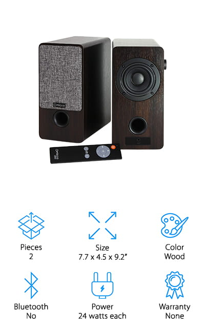 While there are a lot of reasons to love these Micca ON3 Bookshelf Speakers, we have to say that their classic design and attractive styling really drew us to them. The walnut finish and linen-look grill fabric look great on any desk or bookshelf. But there's a lot more to them than just good looks. Front and rear input jacks make it easy to hook up your record player along with any other analog audio source. You can even plug in your smartphone or tablet using the proper cable. It also comes with a fully functional remote to make volume changes and other adjustments from the other side of the room. The remote uses magnet storage so you can attach it right to the side of the speakers when you're done listening.