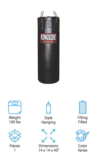 Next is the RIngside Leather Heavy Bag which features a 2-inch soft foam liner that gives you a really comfortable hitting surface. It features a bottom D-ring so you can tether it to the ground for less swing and the heavy bag chain and swivel required for installation are included. One of the things we like most about this bag is how durable it is. The real leather cover breaks in nicely as you use it and the riveting, stitching, and hardware are all of superior quality. You can tell this bag was meant to last a really long time. It has standard dimensions and is the perfect size for any kind of training, from boxing to MMA. This bag is available in either black or red and comes pre-filled.
