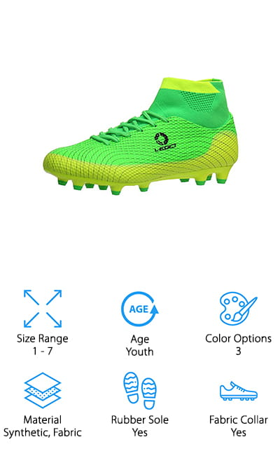 If your child wants a pair of cleats that looks just like what the professionals use, take a look at the ALEADER Boy's Soccer Cleats. They feature a dynamic high top collar that goes over the ankle for a secure, supported fit. There are integrated fly-wire cables to keep the foot locked in place and a textured upper that helps grip the ball better in both wet and dry conditions. The cleats themselves are rubber molded with rotational traction configuration that's effective on natural grass or artificial turf. They come in 3 different bright color combinations: neon green and yellow, navy and neon yellow, and black and green. That's not all, they're available in sizes 1 to 7 so they will fit both big kids and little kids.