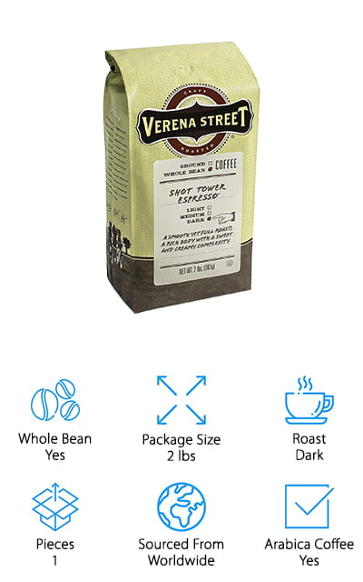 Verena Street Espresso Beans is a dark roast made for fine grind espresso or you can use it for coarse ground drip coffee, too. They source their beans from Rainforest Alliance Certified farms to help promote sustainability and protect the farmers, wildlife, and environment and use different beans together to get the perfect blend. The company roasts their beans at a state-of-the-art facility in Dubuque, Iowa where they strive to maintain a consistently high level of quality, freshness, and customer service. To achieve this, the use only the finest beans and roast in small batches for better quality control. Plus, they keep their warehouse minimally stocked so you know you're not getting coffee that's been sitting on the shelves. That means your coffee will be delivered faster and it will be as fresh as possible.
