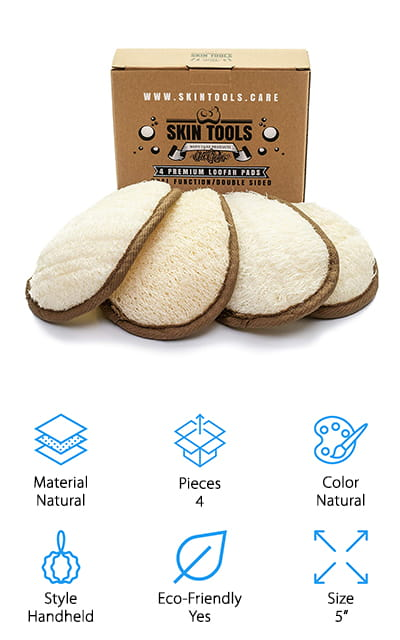 We really like this set of Skin Tools Loofah Pads. Each of the 4 items in this set features an oval-shaped cleansing pad that's about 5-inches long from top to bottom. On the back is a simple strap that holds the pad on your hand for deeper, more efficient cleaning. The side with the loop is covered in soft terry cloth that you can use when cleaning more delicate skin, like around your face and neck. These pads are 100% natural and eco-friendly. The pads themselves are biodegradable and they come plastic-free packaging that's both biodegradable and recyclable. Because these pads are made with natural materials, they're a little small and flat when you first open them. All you have to do is soak them in warm water for a bit and they'll quickly regain their full, fluffy shape.