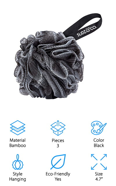 Last but not least we have the Sudz & Co. Bamboo Charcoal Loofah. This is a 3-pack of loofahs made of eco-friendly carbonized bamboo and recyclable PE materials. This loofah works up a great lather and works well with any shower gel. The textured surface gently exfoliates and removes dirt and excess oils from the skin. Each of the loofahs in this set is about 4.7-inches in diameter which is the perfect size to fit right in the palm of your hand. When you're done washing, make sure to rinse the loofah thoroughly and hang to dry. With proper care, these loofahs can last quite awhile. One more great thing about this loofah is that it's covered by a quality guarantee. If you're not happy in any way, simply return it for a full refund.