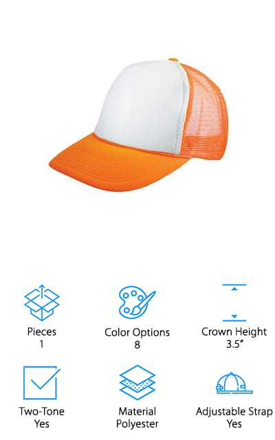 If you want cheap plain trucker hats but you want something super fun then this is going to be a perfect option. That's because each of these hats is neon in color and they come in several options. You can get solid neon colors or two-tone ones so you'll be able to pick something that fits your personal preference and style. Either way, you get a full panel for the front that's definitely large enough to print anything you want on it. Whether you're using it as a basic hat or putting something on it, you're going to love the way this one works. The lightweight material and the fact that it has a mesh back mean that you're going to stay cool and the curved brim means you get the protection that you need from the sun. On top of that, this hat has an adjustable strap that makes sure you're going to have the perfect fit no matter where you want to wear it.