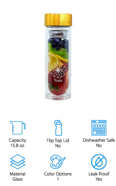 This drink infuser water bottle features a stainless steel filter and strainer rather than a plastic one, creating a more unique design. It also helps keep the plastic of the BPA free bottle away from your water, by sealing it inside a silicone stopper. On top of that, you're going to have plenty of space for all the fruit you could possibly want. The unique lid for this bottle makes it a lot of fun, but it's the quality that you can expect that's really going to keep you happy. You'll have a bottle that's designed to last a lifetime and to be an eco-friendly addition to your household. Of course, if you decide that you don't like it you can contact the company about the satisfaction guarantee. If you want to make some coffee, use the filter to make your best.