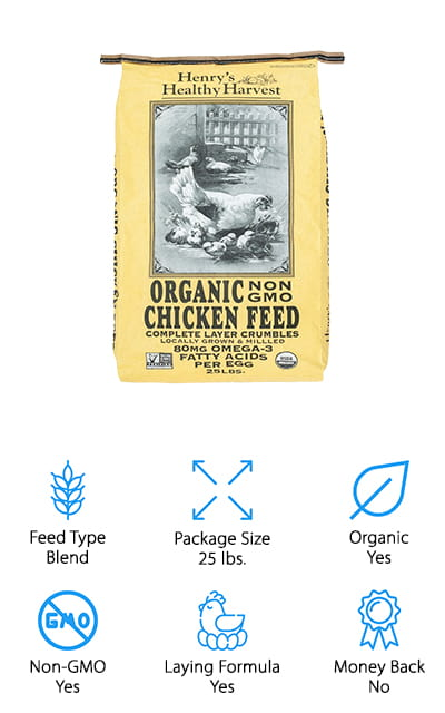 This is one of the best chicken feed brand options you're going to find and for a number of good reasons. All you have to do is take a look and you'll see that the organic, non-GMO formula is a great option and works great for your hens that are laying. It's a blended type of feed that's made with crumbles, and it's also locally grown and milled, so you can feel better about using it in your chicken's feed. You'll get all kinds of health benefits here, with plenty of nutrients of all types. Certified by the USDA, this feed comes in a package that's 25 pounds, so you have plenty to feed your chickens for a long time. You'll also have no problem getting great quality eggs every time because this feed is going to help the egg production and the quality of them over time. It's a balanced and efficient formula for mature chickens everywhere.