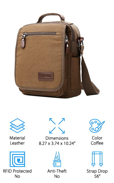 "This messenger bag is great for anyone who wants to be able to carry all of their gear with them at the same time. It has plenty of pockets and space for everything from your keys and wallet to your cell phone and even your tablet. On top of that, it's made with canvas and has a 56"" strap to make sure you can carry it crossbody or however you want. It's even accented with leather and hardware to create a really unique but stylish look. Great for anywhere and anything you might need  this bag gives you a 3 month period to return it so you'll have plenty of time to give it a try and see how it works for you before you make a final decision. Then, you can make sure that it's going to keep your stuff safe and better guarded while you're on that next trip out of town."