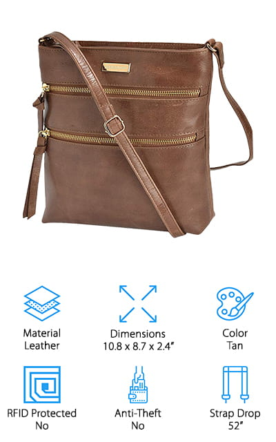 """If you want a simple travel sling purse you might want to keep looking, but this bag is going to be a great one with plenty of features. It's actually handcrafted out of leather in India and provides you with amazing quality and excellent stitching. You'll have a bag that's designed to stand up to absolutely anything that you do with it and definitely one that's going to continue to look amazing the entire time. It's oiled and made with high-quality leather, but what you're really going to like are all the different features of it. Not just the hand stitching, but the variety of different pockets as well. If you decide for any reason that you don't like this bag you can actually get your money back because there's a satisfaction guarantee. You'll also have a 52"""" strap that lets you easily carry this bag however you like and also makes sure that you are comfortable and ready to go for anything. You'll be able to take everything you need along with you in this bag, whether you want something small or large."""