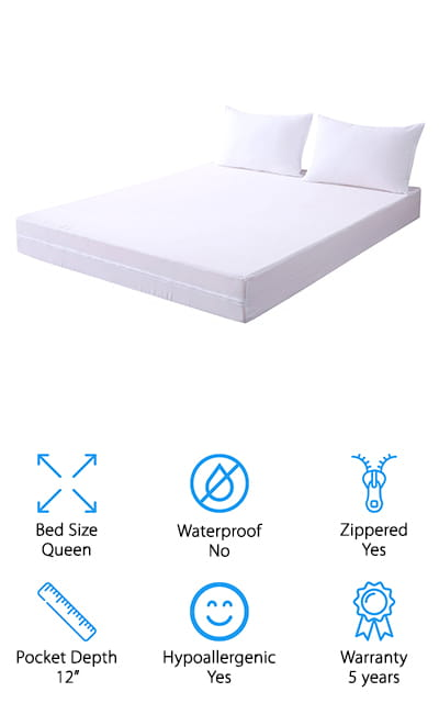 You're going to be completely protected from bed bugs when it comes to this set because you're not only getting a mattress cover that zips all the way around your mattress. You're actually getting 2 pillowcases to protect your pillows as well. That means everything on your bed is going to be better insulated against bed bugs, but also against dust mites and a whole lot more. Designed to be breathable and comfortable while protecting you and your bed, this system is soft and comes in a range of different sizes for a better fit. You'll get a 5-year warranty included and you're going to have cooling functions that help you stay more comfortable, no matter what the weather is outside. The noiseless design also means this is a great option for the lightest sleeper in your household, including your little ones. Complete with a satisfaction guarantee, you're going to have no problem getting everything you expect and everything you need with this set. All you need to do is put it on your mattress and you won't have to worry about bed bugs getting out and wreaking havoc on your entire household.