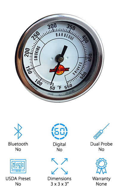 For those times when you want a simple analog thermometer without the bells and whistles, go with the LavaLock smoker thermometer. It's also the best BBQ smoker thermometer we could find because of its large, clear display. It has a 2.5-inch stem that's perfect for telling you the temperature within your favorite outdoor cooking device, and every part of it is adjustable and made of stainless steel. The glass on the face is a heat-resistant, heavy-duty glass that isn't going to fog up when it gets hot. It's a durable thermometer that's going to stand up to a lot of use, and it's reliable and easy to use. There are no complicated wires or preset temperatures. For the traditional griller who wants to be near the food, this is the perfect thermometer. LavaLock is a well-known brand that consistently makes great products, including this one! You're going to love the accuracy and simplicity of this thermometer.