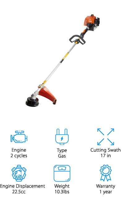 This string trimmer by Tanaka delivers the power that you need at a weight that is entirely manageable. Empty, this weed eater only comes in at about 10 pounds, making it perfect for transporting and for people who prefer the smaller sizes. This weed eater includes recoil starting systems so that you won't have to exert too much force to get the engine started, which is a great feature if you seem to have trouble with the cord-start system. It has an anti-vibrational feature that allows you to use it for longer periods of time without getting tired or fatigued by the intense vibrations, which is great for landscaping companies and other commercial uses. It's easy to maintain this thing, and it's definitely built to work for the long haul. It's a longer weed eater that allows you to use it without stooping so much, saving your back and your wallet at the same time!