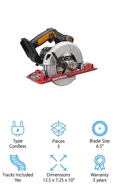 The Exactrack saw by Worx is not a traditional track saw like the others on this list. This power tool falls between the realms of circular saw and track saw, with an included track attached to what you might consider to be a fairly standard circular saw. It's a lightweight tool that still has the power to get the job done and to cut a straight and steady path through whatever surface you need to master. IT's got a flush-mouth design to help you see where you're going better, as well as a bevel gauge that's easy to use and will help you deliver precise cuts and angles. If you own multiple Worx tools you can easily swap the batteries between them so you don't have to buy additional ones that can get costly. It includes one blade, a basic 6.5-inch blade that works for most of your standard projects and makes perfectly straight cuts.