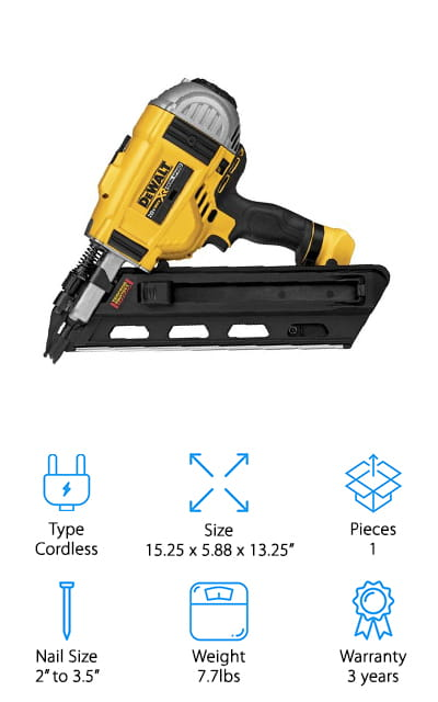 Last but not least on our list is the DEWALT dual-speed nailer. It's a cordless electric nailer that uses a battery to get the job done. You can go all day with multiple interchangeable batteries, and without having to fiddle with an air compressor to get it done. You can use 30 to 34-degree paper tape nails, as well as clipped nails and off-set round head nails. That means that you can do just about anything with this nailer, and it's great for standard jobs as well as those instances where you need something a little outside of the standard range. When the tool is not in use, you can use the trigger lock to make sure that everyone stays safe. You can use this nailer in sequential mode or bump mode, depending on your preference and how quickly you want to finish the job. The top cap is impact resistant, and you can remove it if something goes wrong.