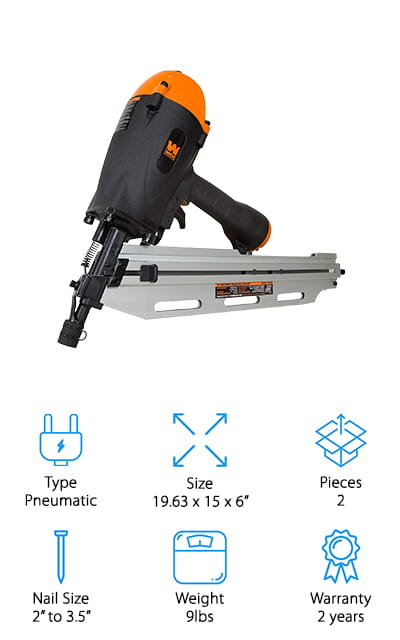 Wen's framing nailer features contact and multi-fire triggers so that you can change between single firing modes and sequential fire. You can use nails between 10 to 11 gauge that range in size between 2 inches and 3.5 inches. All nails must be 21-degree nails, which is the preferred standard. The nail holder can keep up to 60 roundhead nails at a time, so you'll have plenty to work with on your projects. It's a pneumatic nailer so you're going to need to attach an air compressor, but it includes a standard port to get this done. The single-fire trigger can help you avoid shooting two nails in the same spot, which saves you time and money. It makes your workmanship ultimately look better. It includes a carrying case so you can easily move it from job to job if you like, which is perfect for professional use. This is a useful nailer at a great price.