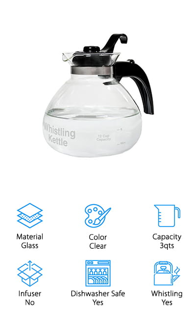This whistling kettle by Café Brew is made entirely of heat-resistant borosilicate glass. It has a modern design that is reminiscent of a coffee carafe rather than a teapot, but the desired effect is nevertheless achieved. It looks modern and clean. It works best on electric and gas ranges, and it's great for putting right into the dishwasher when you're done with it. Use it to make tea for your whole family with the great 3-quart capacity that makes as much as a full pot of coffee in one brew. It's free of all BPA so that it's great to use for boiling water for a variety of beverages, from cocoa to coffee as well as tea. It's durable and the fact that you can see the water boiling through the glass is a great perk. We love that this teapot is modern while still maintaining traditional features, like the whistle that we know you love.