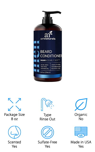 Another great choice for an effective moisturizer for beard growth is this rinse-out formula from ArtNaturals. This beard conditioner is uniquely formulated for thick, wiry beards because it penetrates and conditions deep down and even takes care of the skin under your beard. Some of the ingredients include aloe vera to moisturize, tea tree oil to fight itch and redness, argan oil to deep clean, and jojoba oil and shea butter to revive and add shine. That's not all, there's also licorice root extract and nettle leaf extract that can help fill in any patchy areas. Another great thing about this conditioner is it comes in an easy-to-use pump bottle so you can get just the right amount of product out for each application. Plus, it has a faint earthy scent that isn't overpowering.