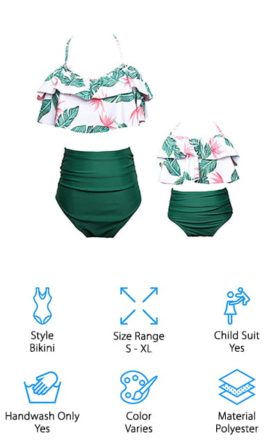 W. DRIZZLE Mother/Daughter Swimwear is the perfect pairing of stylish 2 piece bathing suits for moms and an adorable child-sized version for fun summer days on the beach or at the pool with your little one. This design features high-waisted bottoms with a full coverage rear that's great for postpartum and might work well early in pregnancy when you don't quite need a maternity suit but your regular bikini bottoms aren't cutting it anymore. There are five designs to choose from, each with the same high-waisted bottom and frilly halter. Choose from a coral set with black leaves on the bottoms, red top with black and white polka dot bottoms, pink top with floral bottoms, green tropical leaves with pink flowers paired with solid green bottoms, and a shiny pink matching set.