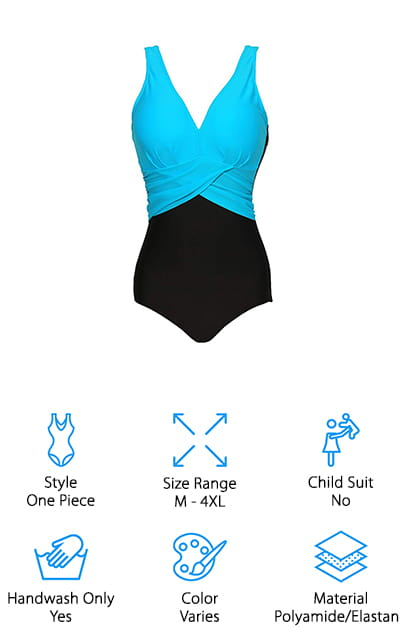 Our last pick is the Zando Colorblock Swimsuit. This classic design is super stylish while also providing tummy control. The brief style bottom is solid black with high cut legs and a high back to smooth your curves. There's a cross-over belt-like accent with small pleats and a V-neck top that lets you show a little bit of skin while taking advantage of the tummy control design. The top is available in a few different colors: lake blue, red, pink, rose red, and royal blue. No matter which one you choose, the bright color of the top really pops against the black bottoms and creates a truly eye-catching look. That's not all, there are removable pads and wide shoulder straps for support and the material is really soft and comfortable.
