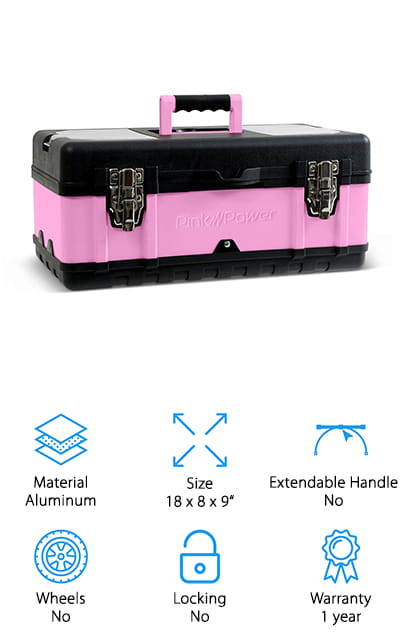 Our budget pick is the Pink Power Portable Tool Box. This portable toolbox has a lightweight, durable aluminum top and a durable plastic bottom to prevent surface scratches. There are two small compartments on the top of the lid that are perfect for keeping small part accessible and organized and a removable tray for hand tools. Larger tools can be stored in the bottom. The toolbox itself weighs just about 5 pounds and it has a soft grip handle so it's comfortable to carry around. Two metal latches keep the box closed and secure and it has a built-in padlock slot so you can lock it from the outside. The bright pink color gives it a feminine twist and it's covered by a 1-year warranty.