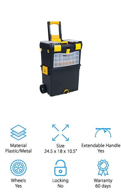 Last up in our toolbox review is the Stalwart Mobile Toolbox. This is another great choice if you want something large that can hold a lot of equipment. There's a lot of room to organize. In addition to two removable tool trays and a deep bottom compartment for large equipment, there are also 24 small compartments where you can keep the little things neat and tidy. The rugged design is made of durable polypropylene and metal to keep your tools safe and secure when moving through rough construction sites. There are also convenient cable hooks on the to wind extension cords, tape rolls, or other small supplies. This stackable toolbox has an extendable handle for easy transport as well as a padlock slot on the top section to add a lock for extra security.
