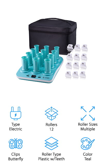 Our next pick for hot rollers for long hair is the Calista Ion Hot Rollers Short Set. These ionic rollers help add body, curl, or gentle waves to your hair using ionic technology to penetrate and smooth the hair. There are two different temperatures to choose from so if you have thin, fine hair you don't have to worry about being stuck with only one really hot setting. Small teeth along the curler help hold your hair in place as you roll it. Plus, the butterfly clips are easy to use and do a good job of holding the curlers in place while you wait for them to cool. They're great for travel, too. The heating element is compact and the soft pouch won't take up much room in your suitcase.