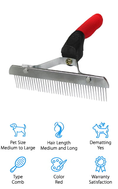 Our last pick is the OCTCHOCO Rake Grooming Brush. This simple design massages your pet's skin while using its sharp inner teeth to eliminate mats, tangles, and knots in its undercoat. The soft, anti-slip rubber handle is easy to maneuver and comfortable to use which means you can have longer grooming sessions without any wrist or hand pain or discomfort. The stainless steel pins are rounded so they're comfortable for your pet and the won't sharpen with use over time. One of the great things about this comb is how wide it is. With just about six-inches of teeth to work with, it covers a wide area for faster grooming. OCTCHOCO provides lifetime quality assurance, too. If you have any problems grooming your golden, contact them for a replacement or full refund.