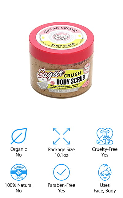 The Sugar Crush Scrub by Soap and Glory is another aesthetically pleasing scrub that will look cute in your bathroom. It includes crushed brown sugar and sweet lime, as well as almond oil and macadamia to help exfoliate and keep your skin fresh and moisturized all over. It's scented with delicious lime, lemon, and vanilla to really give you refreshing wash when you use it. You can sue it up to three times a week in the shower, depending on the level of dry skin that you're dealing with. It's great on legs and elbows, just about anywhere that your skin comes up super dry. The ingredients create a tantalizing mix that keeps your skin feeling smooth and refreshed long after you wash it off. The scent is pleasant, but it isn't overpowering. It'll only be obvious to the people that are closest to you! This is a great scrub at a price your wallet will love.