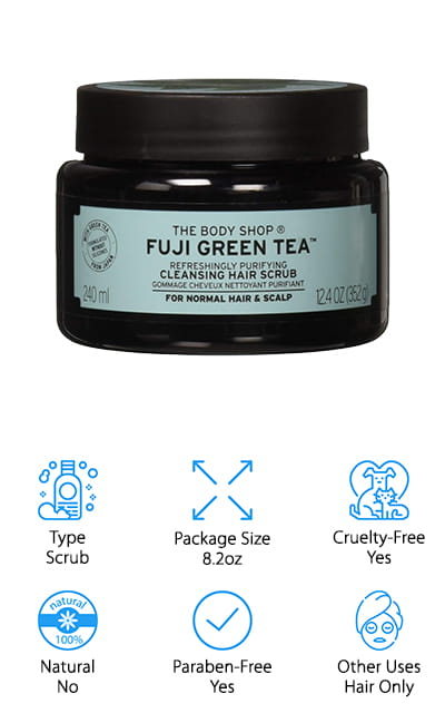 Last on our list is this green tea for your hair from The Body Shop. This scrub is made for normal to oily hair and scalp, so it works particularly well for these types of hair conditions. To use, gently massage this delicious-smelling mixture in your hair to remove the build-up of chemicals and impurities. You're going to love the way that this treatment makes your hair feel, clean and purified. Plus, it's going to look great too. It's enriched with honey from Ethiopia along with high-quality green tea and doesn't contain any silicones or parabens. What it does contain are mint and salt crystals to help you feel clean and gently remove dirt and build-up. When you massage this formula into your scalp, you can expect to increase blood flow and removal of dust, smoke, and even sweat. Nothing can stand up against this scrub shampoo for very long, and that's definitely something you want.