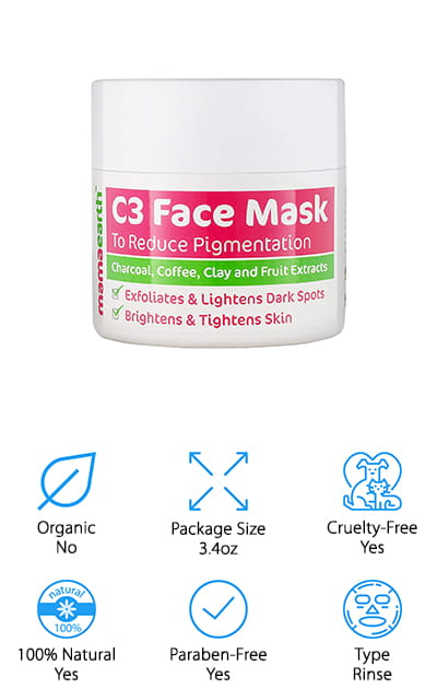 The last mask on our list is from Mamaearth, a cruelty-free company that works to bring you natural products that you can be proud of using. All of the products that Mamaearth makes are certified to be toxin free, so you'll never find synthetic fragrances, mineral oils, sulfates, or even parabens in their formulas. This particular mask is perfect for detoxing your skin and leaving behind a smooth, moisturized canvas. If you have dark spots on your face, this coffee face mask will work perfectly to reduce their appearance. It exfoliates your skin with the use of coffee seed extract and uses the naturally stimulating properties of caffeine to reduce redness, inflammation, irritation, and puffiness while it works to tighten your pores and reduce the appearance of acne. It can even stop the frequency of your breakouts! This formula is hypoallergenic and fragrance-free, using natural flower extracts instead of chemicals to achieve a delicious scent.