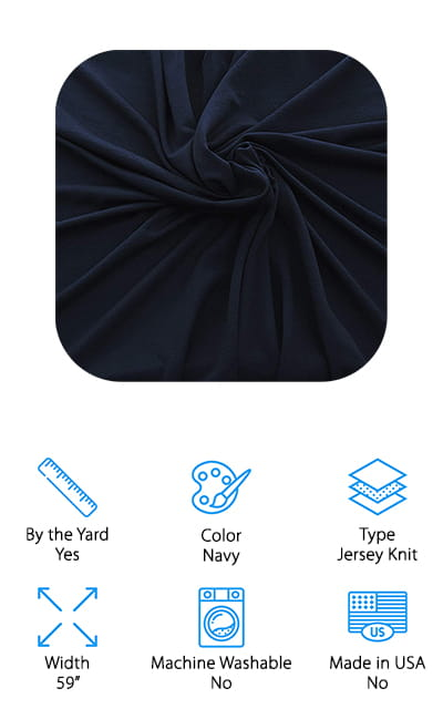 The deep navy color of this material makes it definitely a winner already and the fact that it's made with 95% bamboo with a little bit of spandex makes it even better. It has the durability of the bamboo with just the right amount of stretch to keep it comfortable and give you a little better drape along the way. Sold by the yard for anything you want to get done next, it's actually a soft jersey knit that can be used for leggings, yoga outfits, shirts and a whole lot more. You're not going to run out of things to do with this material. With this material, you're going to feel super cool no matter what you decide to make because it's soft and breathable. It also works great with your sewing machine and serger so you don't have to worry about getting it into just the right shape and style for what you want.