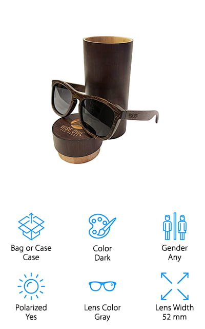 Wiseowl Bamboo Wood Sunglasses