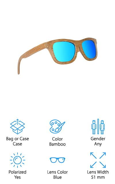 Ynport Bamboo Classic Sunglasses