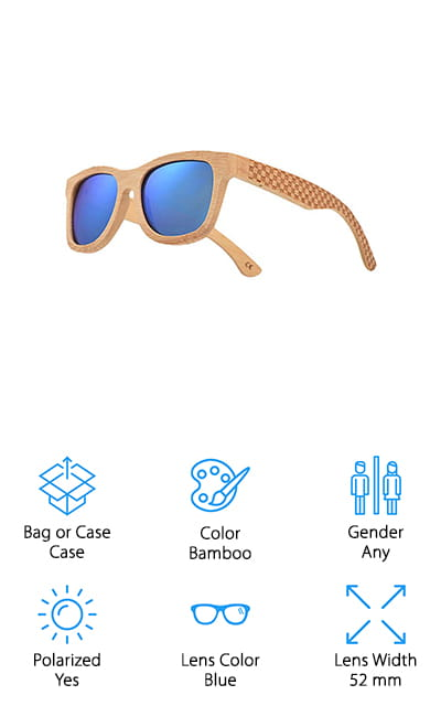 JANGOUL Carved Bamboo Sunglasses