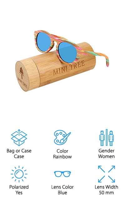 These bamboo shades are super fun because they actually have several different colors right in the wood. You'll have plenty of vibrancy and color to go around, and it's all made with natural bamboo. The lenses themselves come in several different colors so you can choose the ones that work best for you and the polarization and UV 400 protection of the lenses makes them even better for anything you might need while you're out and about during the day. Handmade and super comfortable, there's a satisfaction guarantee that says you're going to absolutely love your new sunglasses or you can return them and get a full refund. That's definitely a great reason to at least give them a try. Who wouldn't love a pair of sunglasses that really emphasizes their personal style?